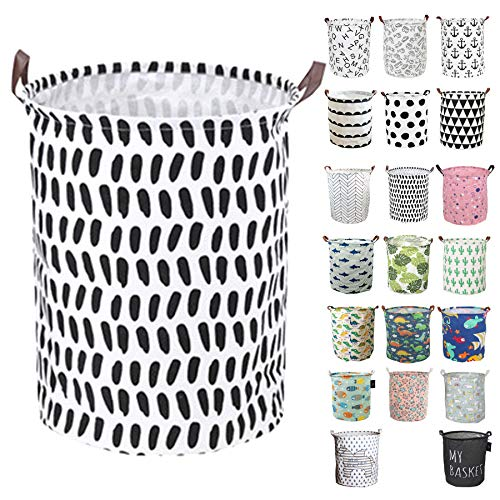 GodenMoninG Laundry BasketsBedroom HamperKitchen OrganizationWaterproof Round Cotton Linen Collapsible Storage Basket Finger DOts
