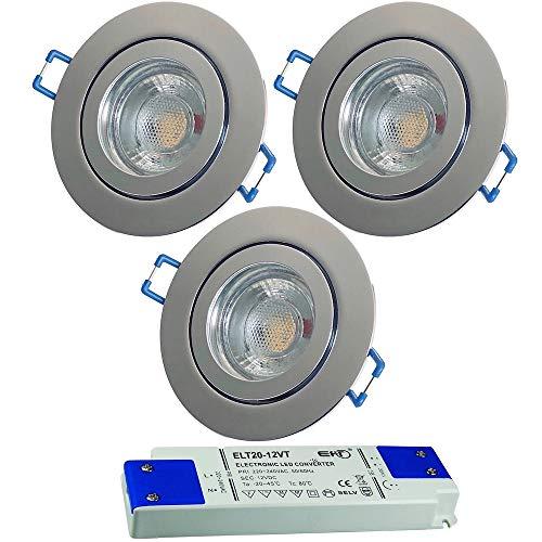LED Bad Einbauleuchten 12V inkl. 3 x 5W LED LM Farbe Chrom IP44 LED Deckenspots Neptun Rund 4000K mit Trafo
