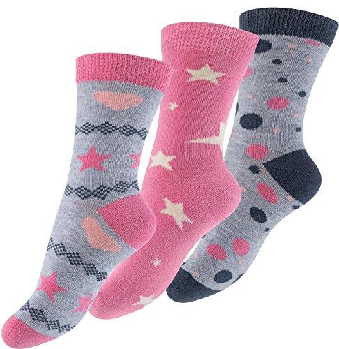 Cotton Prime Lot de 6 paires de socquettes pour fille - design: Design: astérisque, point, coeur -multicolore - fille - taille 23-26