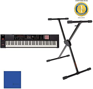 Roland FA-08 88-key Music Workstation and KS-10X Adjustable X-Style Keyboard Stand with Microfiber and 1 Year Everything Music Extended Warranty