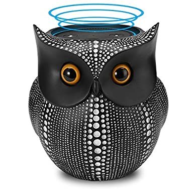 Station Stand for Amazon Echo Dot 2nd 1st Generation Speaker (Black) - Crafted Owl Statue Guard Station Stand, Cabinet Mount Table Holder Mounting Base [BFF for Alexa Dot], Echo Dot Docking Station