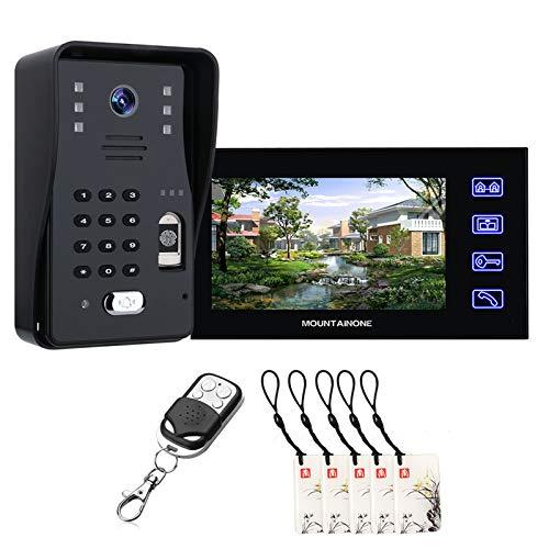 Timbre de video, contraseña de huellas dactilares RFID Videoportero teléfono vigilancia del hogar, intercomunicador, cámara de seguridad de visión nocturna + monitor de 7 pulgadas