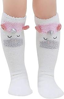 FairySu, Woqook 1 par de calcetines de terciopelo coral con diseño de animales para bebés y niñas, calentadores de piernas hasta la rodilla