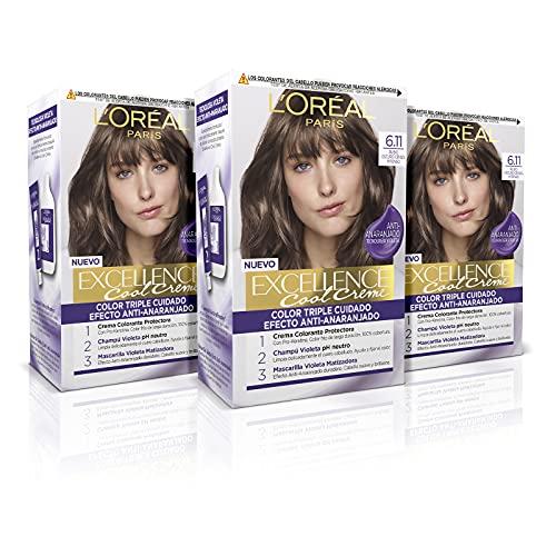 L Oréal Paris Excellence Cool Creme Tinte Permanente Triple Cuidado Efecto Anti-Anaranjado Tono 6.11 Rubio Ceniza Oscuro - Pack 3 unidades