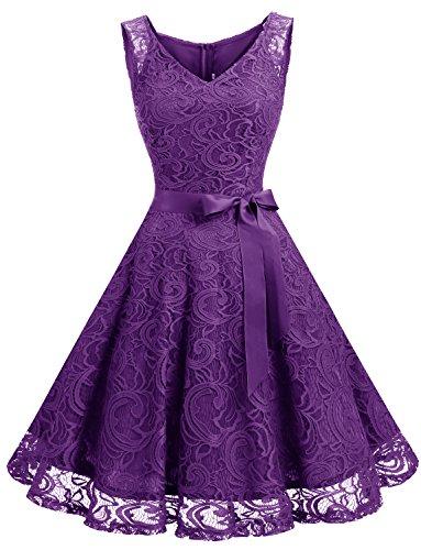 Dressystar DS0010 Brautjungfernkleid Ohne Arm Kleid Aus Spitzen Spitzenkleid Knielang Festliches Cocktailkleid Violett XL