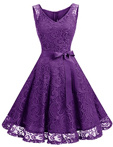 Dressystar DS0010 Brautjungfernkleid Ohne Arm Kleid Aus Spitzen Spitzenkleid Knielang Festliches Cocktailkleid Violett XS
