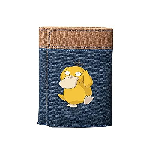 ZZYYII Anime-Brieftasche, Psyduck, vertikale Brieftasche, ultradünne große wasserdichte, verschleißfeste Leinwand-Brieftasche, Student/Erwachsener, Anime-Fan Favorit,...