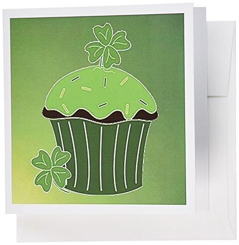 フローレンHoliday Graphic???Green Irishカップケーキ???グリーティングカード Set of 6 Greeting Cards