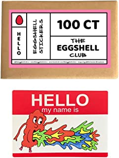 Red Hello My Name is | Premium Eggshell Sticker Blanks | 100 Pack | Sun-Proof UV Ink | Weather Resistant | Quick & Easy Peel