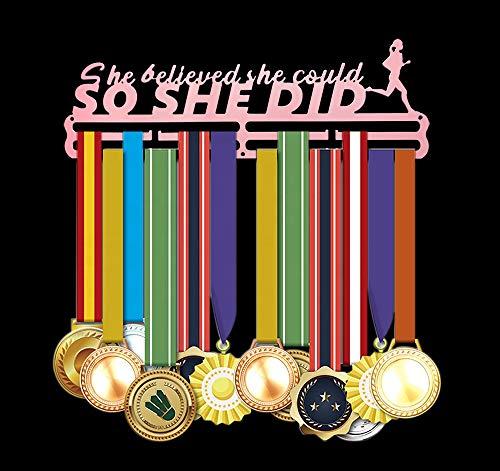 Medaillen Aufhänger Running Wand für Laufen Halter Display Rack, Rosa Super Hart Stahl Metall,Wandmontage Medaillenhalter - She Believe She Could,So She Did- Laufsport Tolles Geschenk für Läuferin