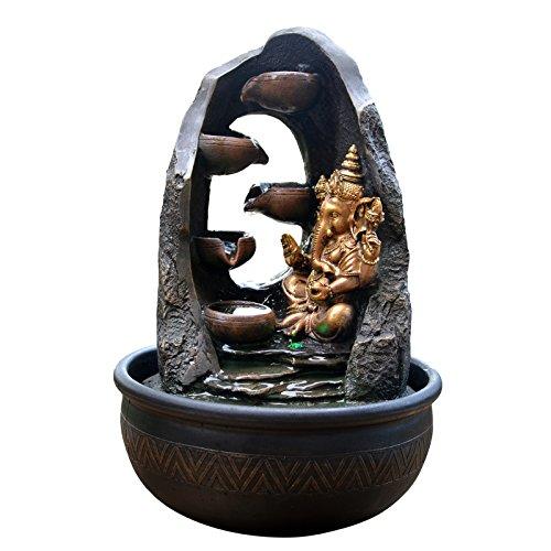 Zen Light SCFR1798 Fontaine d'Intérieur avec Pompe et Eclairage LED, Résine, Marron, Taille Unique