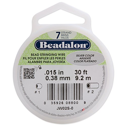 Beadalon 7-Strand Stainless Steel 0.015-Inch Bead Stringing Wire, 30-Feet, Silver Color