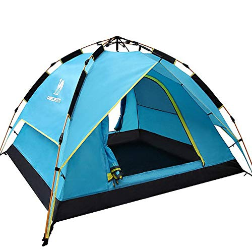Mdsfe CAMEL Automatic Opening Camping Tent 2-3 Person Double layer Waterproof Rainproof Outdoor Beach Travel Tent-Blue