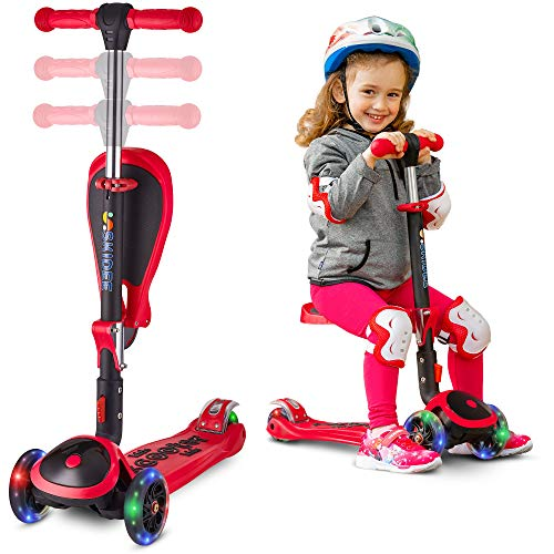 S SKIDEE Scooter for Kids with Foldable and Removable Seat – Adjustable Height, 3 LED Light...