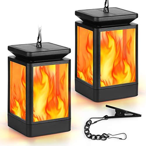 Shinmax Solar Laterne für Außen Gartenlaternen Solarlampen Solarlaterne und Wasserdichte Hängeschirm Laterne Gartenlaternen Flammenlampe 3Mode Kerzenlichter Dekorativ für Deko