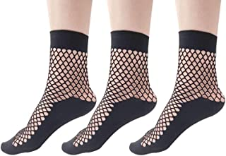 Women 3 Pairs Sheer Elastic Black Fishnet Socks Soft Summer Breathable Soft Stretchy Transparent Ankle Stockings