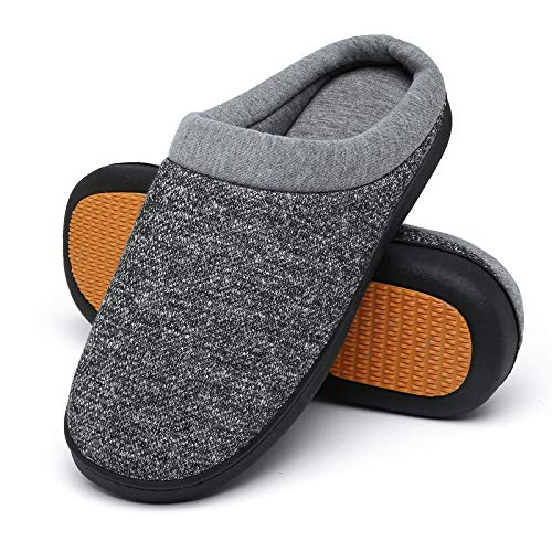 Mishansha Comfortable Memory Foam Home Shoes for Men Women Slip On Cotton House Slippers for Indoor Outdoor Use Dark Gray