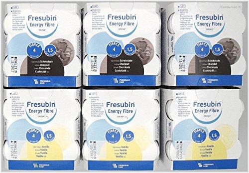 24x 200ml Fresubin Energy Fibre DRINK 2 Sorten - MISCHKARTON 12x Schokolade / 12x Vanille - im exclusiven ConsuMed Bundle inkl. Produktplakat