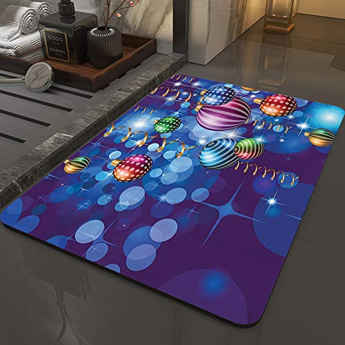 Memory Foam Bath Mat Non-Slip Back,Christmas,Happy New Year Party Celebrations with Swirling Ornaments and Bal,Microfiber Softness Bath Rug, Highly Absorbent, Machine Washable ,for Bathroom (50x80 cm)