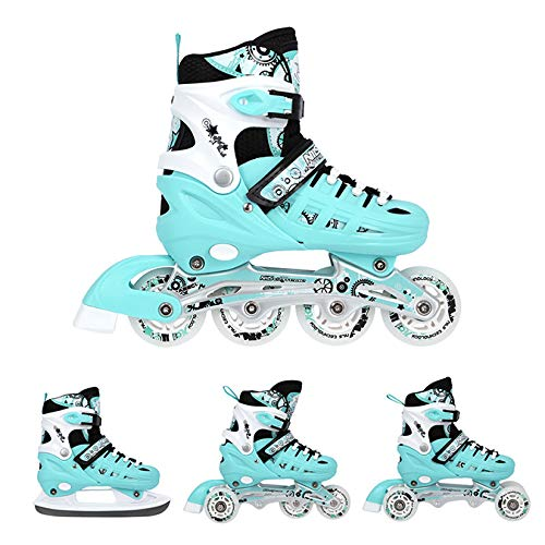 Nils Inlineskates Rollschuhe Schlittschuhe # 4in1 verstellbar Inline Skates EIS Sport Hockey Mädchen & Junge & Damen NH10905 (Blau, S (31-34))