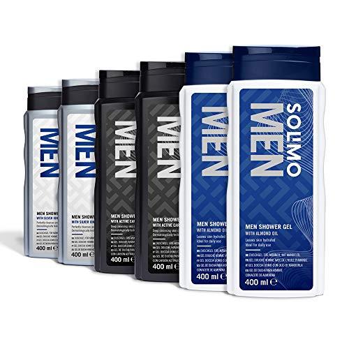 Marca Amazon - Solimo Gel de ducha para hombre - Paquete de 6 (2 x Iones de plata y aceite de almendra 400ml, 2 x Carbón activado 400ml, 2 x Aceite de almendra 400ml)