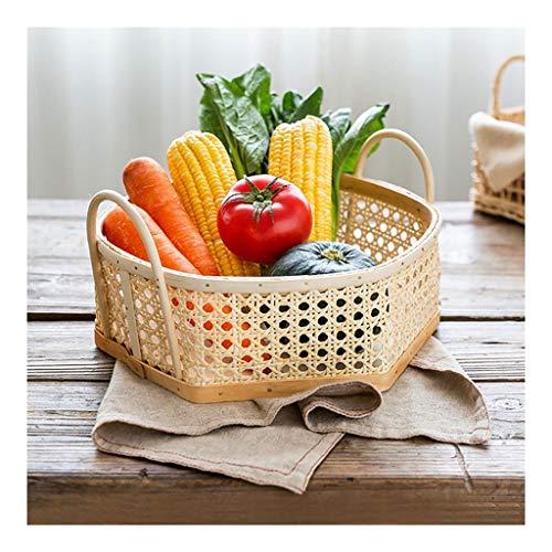 WDOPZMS El ama de casa Binaural Rattan Cesta de Frutas Merienda Pan Torta de la Bandeja de Alimentos Sala de Estar Cocina for Guardar Objetos Cesta Inicio