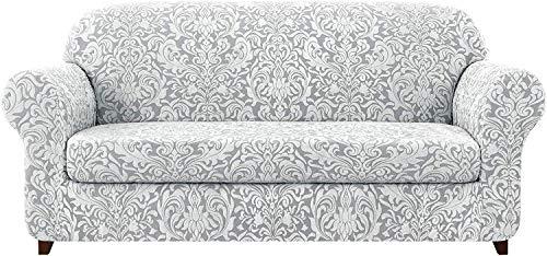 GCP Fundas de sofá universales de 2 Piezas, Fundas de sofá elásticas Jacquard Fundas de sillón 1 2 3 4 plazas Poliéster Spandex Patrón Floral Antideslizante Sofá Fundas para Mascotas (Gris ahuma