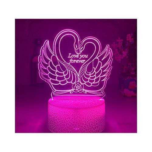 New Swan I Love You Luz De Noche 3d Con Interruptor Táctil En Forma De Corazón, Atmósfera Colorida, Utilizada Para Decoración Del Hogar, Lámpara De Mesa, Regalo De Cumpleaños Para Fiestas De Niños Y N