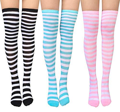 DRESHOW 3 Paar Damen Überknie Kniestrümpfe Overknee Strümpfe Lange Gestreifte Socken Schüler Knitting Sportsocken