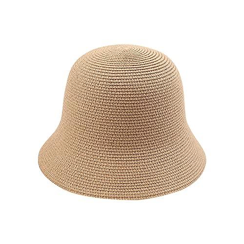 Kuletieas Sombrero Mujer Boho Beach Holiday Travel Bucket Cap Mujer Verano Sol Sombrero Cloche Sombrero de Paja Elegante Vintage Solid Floppy Sombrero de Moda de Panamá