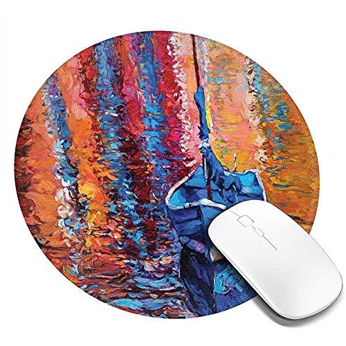 Ronde muis pad, astel kleur verf van vissen zeil boot in de zee donkere fee beeld dramatische kunst werk, antislip Gaming Mouse Mat