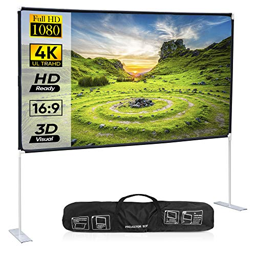 ZENY Portable Projector Screen with Stand 100 Inch 16:9 HD 4K Rear Front Projections Movies Screen Indoor Outdoor Fast-Folding Projection Screen with Carry Bag and Legs for Home Theater Cinema Travel