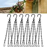 6 Set Hanging Basket Chains for Plants, 16 Inch Black Metal Hanging Planter Replacement Flower Pot Hangers, Metal Chain for Planters, Plant Pot Hooks for Hanging Baskets Planters and Lanterns