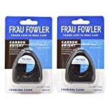 NEW eoFLOSS! Waxed Dental Floss 2 Pack, Infused with Organic Essential Oils, Xylitol & Activated Charcoal by FRAU FOWLER, 50m (54.6yds) each
