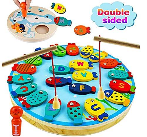 Ucradle Juguetes de Pesca de Madera, Juego de Pesca Magnético de Madera Carta de Pesca Juguetes Juego de Tablero de conteo alfabético Polo magnético Juguetes educativos para niños y niñas de 3 años