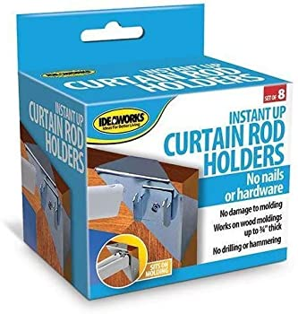 IdeaWorks Instant Holders-Curtain Rod Brackets No Drilling-Perfect for Hanging on Any Wall