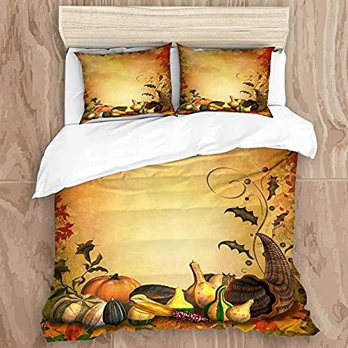HUA JIE Junior Bed Duvet Set Duvet Cover Set,Autumnal Background with Ornamental Leaves and Cornucopia,Decorative 3 Piece Bedding Set with 2 Pillow Shams