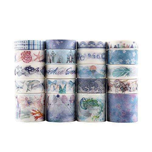 Lychii cinta adhesiva decorativa colección Maletín de maquillaje Bullet para DIY manualidades, Revistas, planificadores, tarjetas, scrapbook (Ocean series 2)