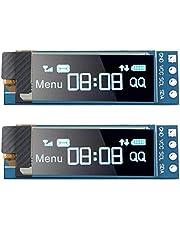 2 Piezas Módulos de Pantalla I2C Módulo de Pantalla OLED I2C SSD1306 de 0,91 Pulgadas Controlador de Pantalla OLED Azul I2C DC 3.3V - 5V