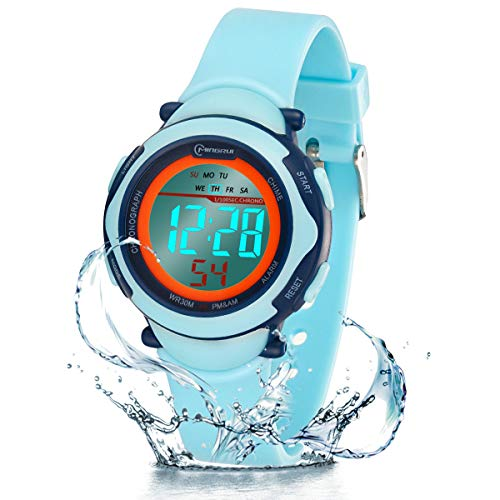 Reloj Digital para Niños Niña,Chicos Chicas 50M(5ATM) Impermeabl Deportes al Aire Libre LED Multifuncionales Relojes de Pulsera con Alarma