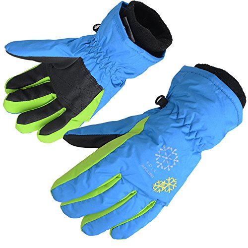 AMYIPO Kids Winter Snow Ski Gloves Children Snowboard Gloves for Boys Girls (Blue-3, 6-7 Years)