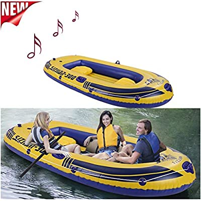 WEI DA f Leisure 3-Person 8FT Inflatable Dinghy Boat Fishing Rafting Water Sports, Inflatable Kayak Set with 2 Oars + High Output Air Pump + Boat + Rope + Repair Pack + Waterproof Bag + Cushion