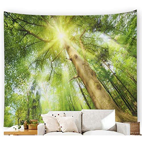 Scrolor Landschaftsmalerei Wandteppich für Hotel Hauptwohnzimmer Wallhanging Dekoration Forest Green Nature(Mehrfarbig 3,150X200cm)
