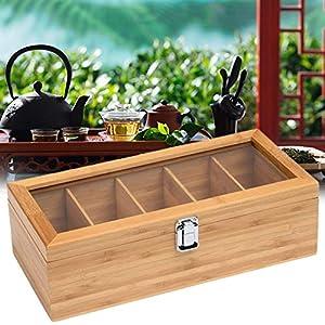 Boîte à thé en bois avec 5 compartiments pour sachets de thé - Boîte de rangement multifonctionnelle avec fenêtre en verre acrylique pour une utilisation domestique
