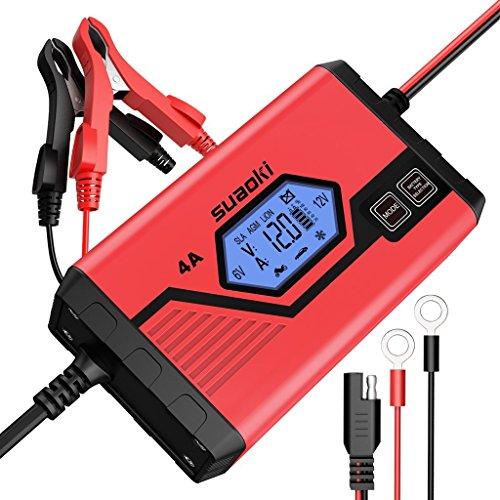 Suaoki - Chargeur de Batterie pour Voiture 4 Ampères 6/12V, Mainteneur Intelligent et...