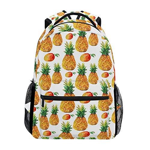 Watercolor Ananas Mango Rucksack wasserdichte Schultertasche Book Bag Gym Rucksack Tropical Fruits Laptop Tasche Casual Day Pack Outdoor Reisen Sport Tasche für Damen Herren