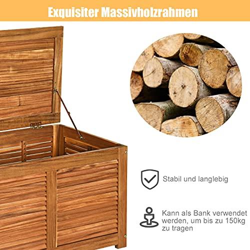 COSTWAY Gartenbox Akazienholz Massiv Gartenbank Auflagenbox Kissenbox Gartentruhe Aufbewahrungsbox für Garten und Hinterhof 120x45x45cm - 5