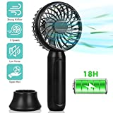 Super Mini Handheld Fan, Pocket Size Portable Battery Fan with Max 18 Hours Working Time, Strong Airflow, 3 Speeds, Natural Wind Mode, Removable Base Personal Fan For Home, Office,