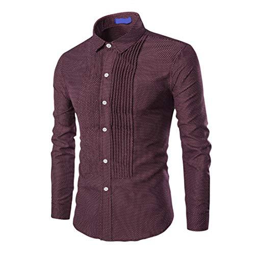Men's Classic Long Sleeve Pleated Shirts Men Casual Dress Shirt Fashion Print Pattern Button Lapel Shirt Sweatshirts Tops Mens Button Down Sweatshirt All-Match Slim Fit Christmas L