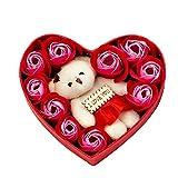 Kuaijie Caja de 10 rosas de jabón con forma de corazón para regalo de aniversario
